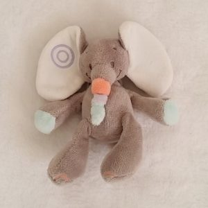 Doudou éléphant grelot gris bubbles 15 cm NATTOU