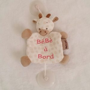 Signalétique «bébé à bord» Girafe blanc beige NATTOU