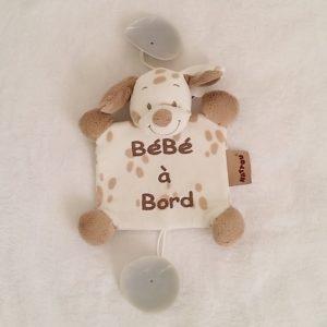 Signalétique «bébé à bord» Chien Max blanc beige NATTOU