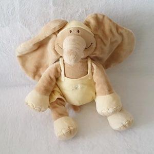 Doudou éléphant marron salopette jaune 35 cm NOUKIE'S