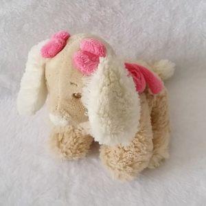 Doudou Chien Scuba poils beige noeud rose NOUKIE'S