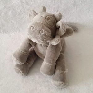 Doudou Vache gris clair 18 cm assis NOUKIE'S