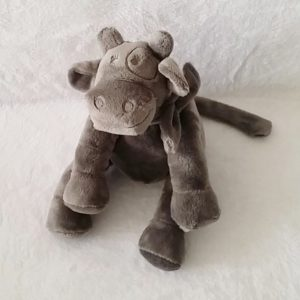Doudou Vache gris foncé 18 cm assis NOUKIE'S