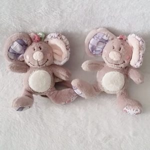 Lot de 2 Souris gris rose Kali Nina Kenza 12 cm NOUKIE'S