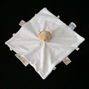 Doudou plat Ours blanc pomme verte étiquettes NOUKIE'S