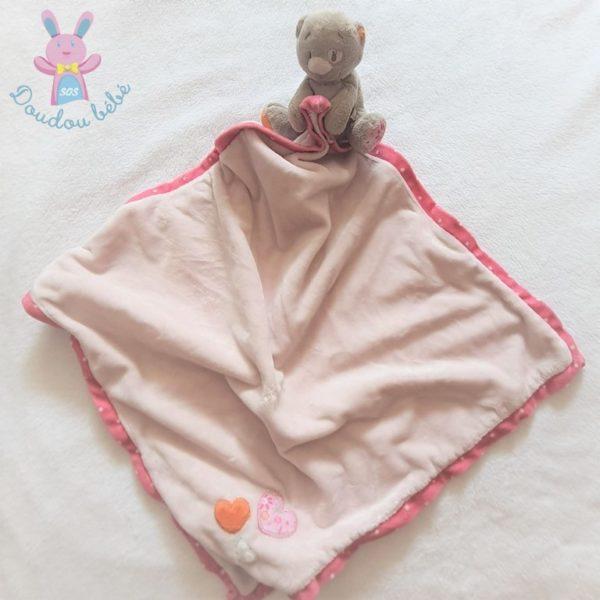 Doudou Chat Iris «Ma première couverture» rose crème NOUKIE'S