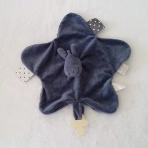 Doudou plat Ane Paco bleu foncé étoiles attache tétine NOUKIE'S