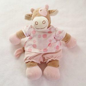 Doudou Vache Lola beige rose blanc 40 cm NOUKIE'S