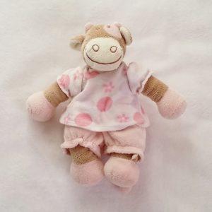Doudou Vache Lola rose beige blanc 24 cm NOUKIE'S