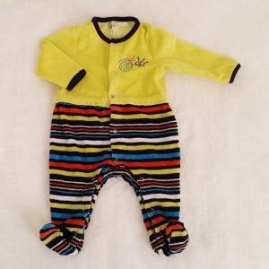 Pyjama velours jaune et rayé bébé garçon 3 MOIS ORCHESTRA