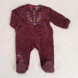 Pyjama velours violet bébé fille 3 MOIS BABYGRO