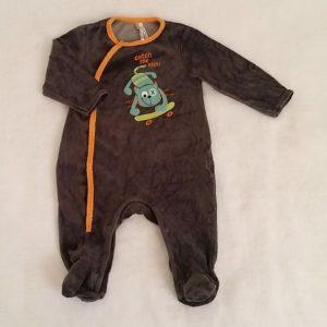 Pyjama velours gris orange bébé garçon 6 MOIS ORCHESTRA