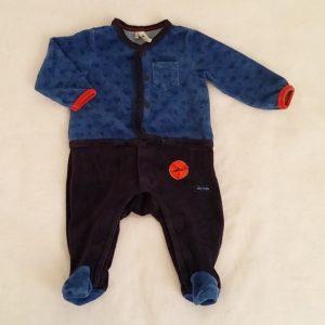 Pyjama velours bleu et marine bébé garçon 6 MOIS ORCHESTRA