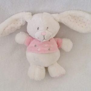 Doudou Lapin blanc rose étoiles 17 cm TEX
