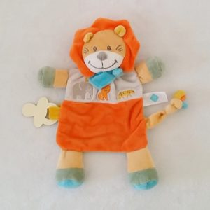 Doudou plat Lion orange bleu blanc attache tétine TEX