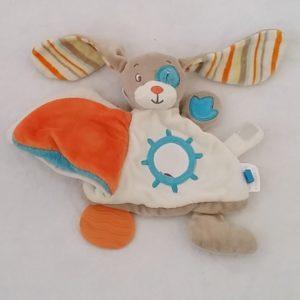 Doudou Lapin livre cocard blanc bleu jouet éveil bébé TEX