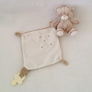 "Doudou Ours marron chiné blanc mouchoir ""mon doudou"" attache tétine TEX"