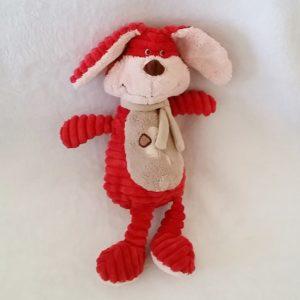 Doudou Lapin rouge côtelé beige 30 cm TEX