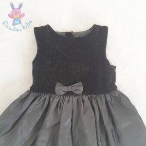 Robe de fête noire velours satinée et tulle bébé fille 18 MOIS