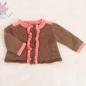 Gilet mailles marron doré rose saumon bébé fille 3 MOIS ORCHESTRA