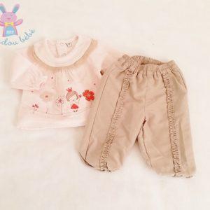 Ensemble haut rose + pantalon beige bébé fille 3 MOIS