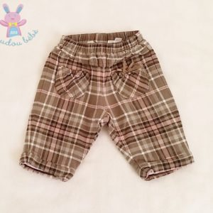 Pantalon doublé carreaux gris rose bébé fille 0-3 MOIS MEXX