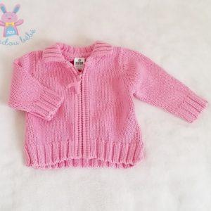 Gilet mailles rose zippé bébé fille 1/3 MOIS ZARA