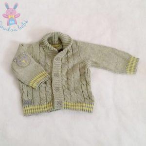 Gilet mailles torsadées gris jaune bébé garçon 3 MOIS ORCHESTRA