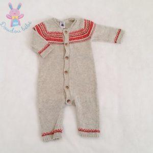 Combinaison mailles gris rouge bébé garçon 3 MOIS PETIT BATEAU