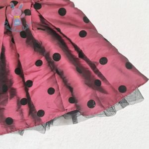 Robe de fête satinée prune à pois noirs bébé fille 6 MOIS