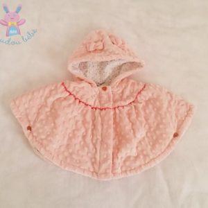 Poncho à capuche velours rose bébé fille 6 MOIS ORCHESTRA