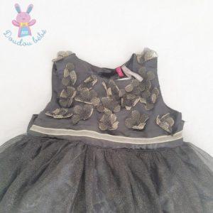 Robe noire dorée satinée tulle bébé fille 9 mois ORCHESTRA