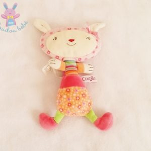 Doudou Lapin rose orange fantaisie rayé COROLLE