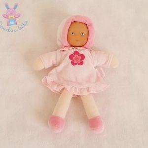 Doudou Poupée chiffon robe rose fleur COROLLE