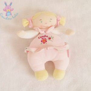Doudou Poupée chiffon blonde rose fleur 21 cm COROLLE