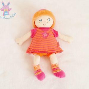 Doudou Poupée chiffon rose orange rayé chapeau 30 cm COROLLE