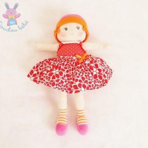Doudou Poupée chiffon robe rouge blanche 35 cm COROLLE