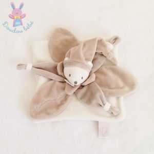 Ours plat blanc taupe collector DOUDOU ET COMPAGNIE