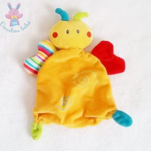 Doudou plat Papillon orange rouge rayé spirales BABY CLUB C&A