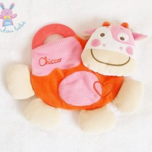 Doudou plat Vache beige orange rose dentition CHICCO
