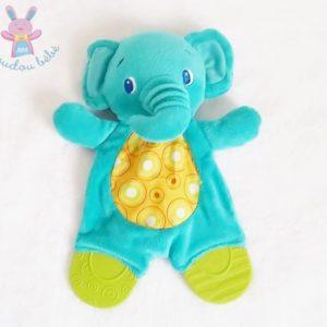 Doudou plat éléphant bleu vert dentition BRIGHT STARTS