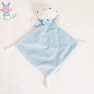 Doudou plat Ours bleu blanc noeud papillon DUFFI BABY