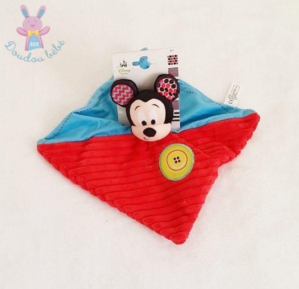 Doudou plat Mickey bleu rouge DISNEY