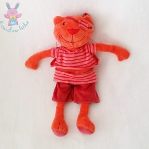 Doudou peluche Chat pirate orange rayé rose CREDIT MUTUEL