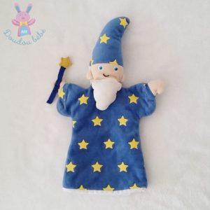 Doudou marionnette Magicien bleu étoiles jaune CMP