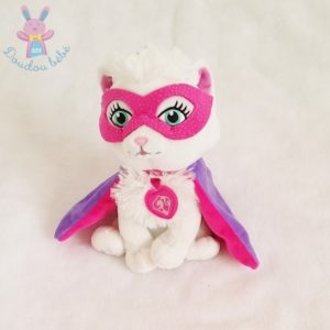 Doudou Chat Barbie super héros blanc cape masque GISPY MATTEL