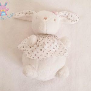 Doudou peluche Lapin blanc t-shirt fleurs rose JACADI