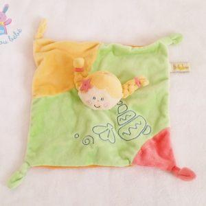 Doudou plat Poupée fille tresses vert jaune orange BABY LUNA