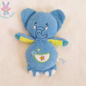 Doudou réversible éléphant bleu / Grenouille verte GIPSY