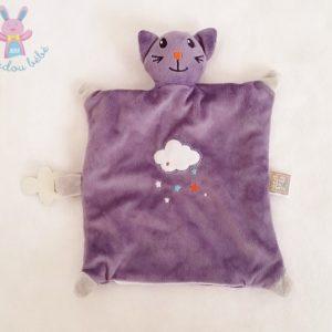 Doudou plat Chat violet nuage attache tétine LES CHATOUNETS